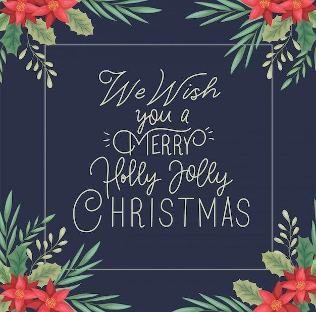 Счастливая веселая рождественская открытка с цветочным декором и каллиграфией
