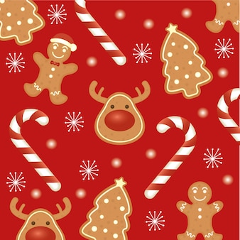 Happy merry christmas card with ginger cookies pattern