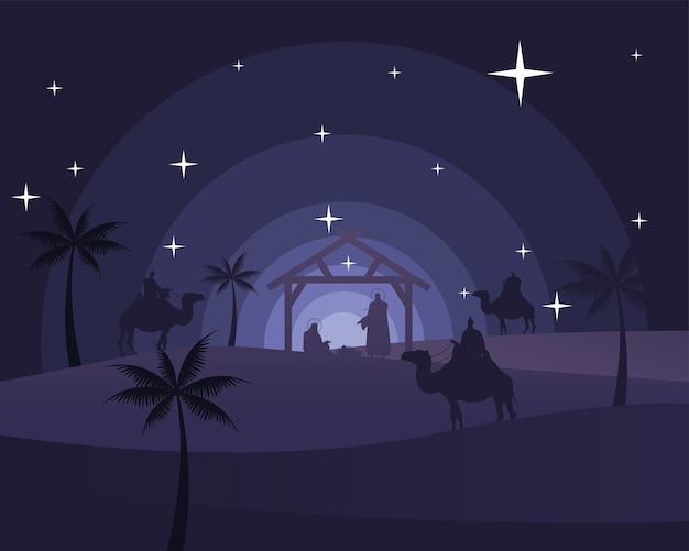 Happy merry christmas card with holy family in stable and biblical magi in camels silhouette scene