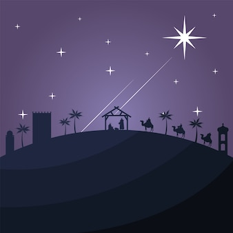 Happy merry christmas card with holy family in stable and biblical magi in camels silhouette vector
