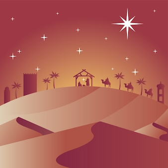 Happy merry christmas card with holy family in stable and biblical magi in camels silhouettes vector