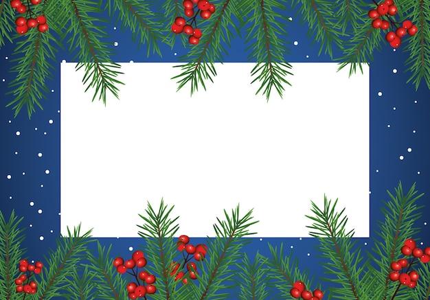해피 메리 크리스마스 카드와 잎과 씨앗 프레임