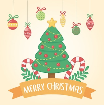 Happy merry christmas card with pine tree