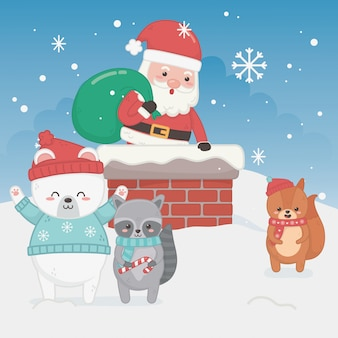 Happy merry christmas card with santa claus and animals