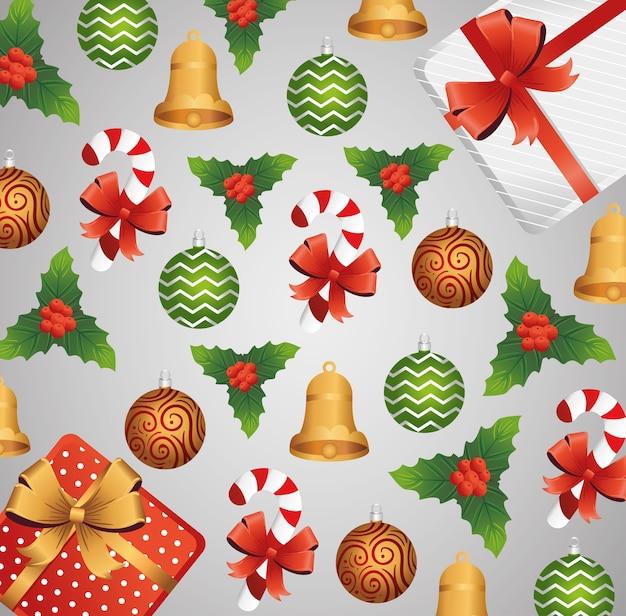 Счастливая веселая рождественская открытка с набором иконок шаблон дизайна иллюстрации