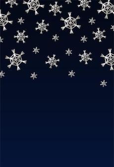 銀の雪のイラストとハッピーメリークリスマスカード