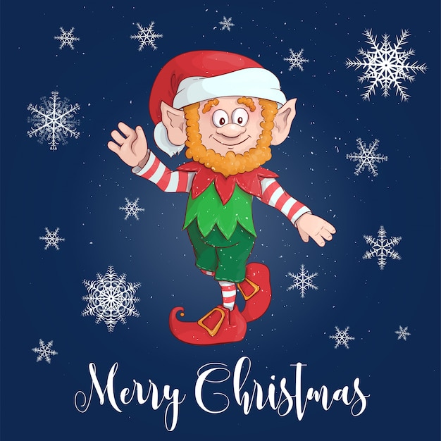 Happy merry christmas cartoon elf character