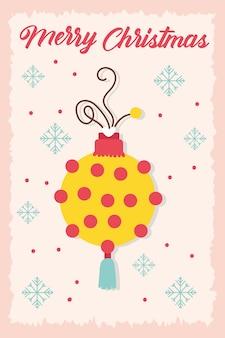 Счастливого рождества праздник карты с мячом и снежинки векторные иллюстрации дизайн