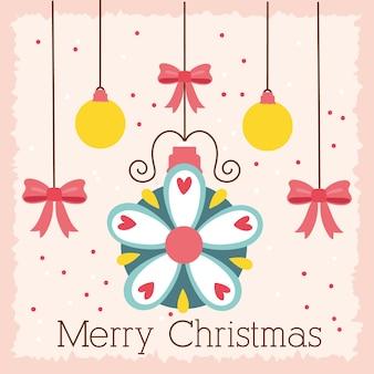Счастливого счастливого рождества праздник карты с шарами и бантами висячие векторные иллюстрации дизайн