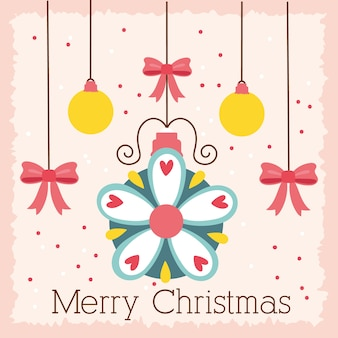 Happy merry christmas celebration card with balls and bows hanging vector illustration design