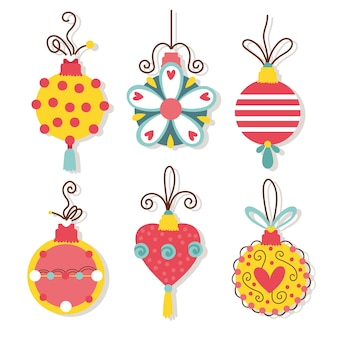 Счастливого рождества праздник карты с шариками связка векторные иллюстрации дизайн