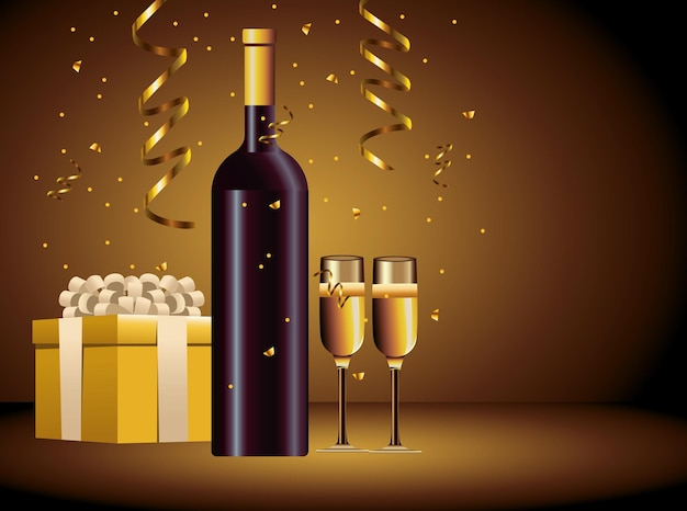 Happy merry christmas champagne bottle and cupe with gifts illustration
