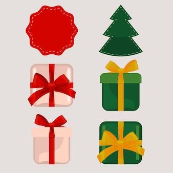 해피 메리 크리스마스 선물과 소나무