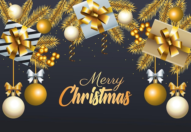 Happy merry christmas golden lettering with balls and gifts illustration