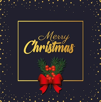 Happy merry christmas golden lettering with bow ribbon in square frame illustration