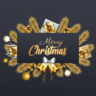 Счастливого рождества золотые надписи с подарками и колокольчиками в еловой рамке иллюстрации
