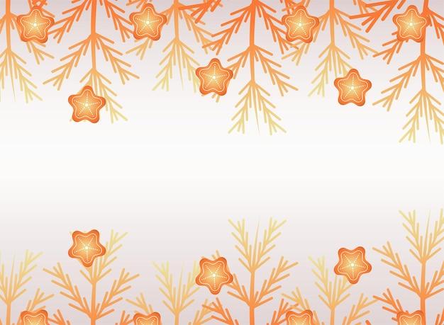 幸せなメリークリスマスの黄金の星とモミの葉のイラスト