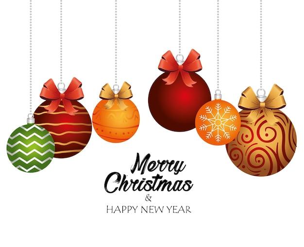 イラストデザインをぶら下げボールと弓でハッピーメリークリスマスレタリングカード