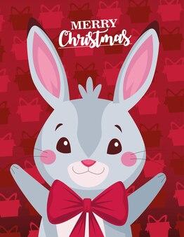 С рождеством христовым надписи карта с милый кролик иллюстрации