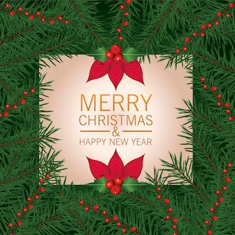 Счастливого рождества надписи открытка с цветами и листьями рамка иллюстрации