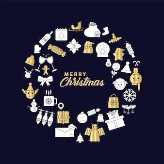 황금과 은색 설정 아이콘 일러스트와 함께 해피 메리 크리스마스 글자