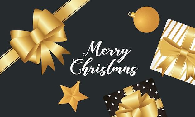 金色の弓とギフトでハッピーメリークリスマスのレタリング