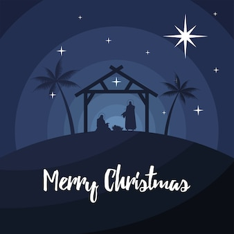 Happy merry christmas lettering with holy family in stable silhouette vector illustration design