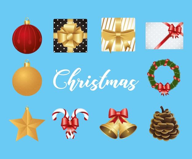 Счастливого рождества надписи с набором иконок