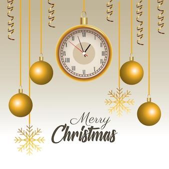 Счастливого рождества надписи с часами и шарами, висящими иллюстрации