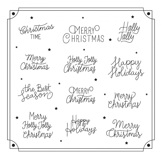 Happy merry christmas letterings calligraphy font