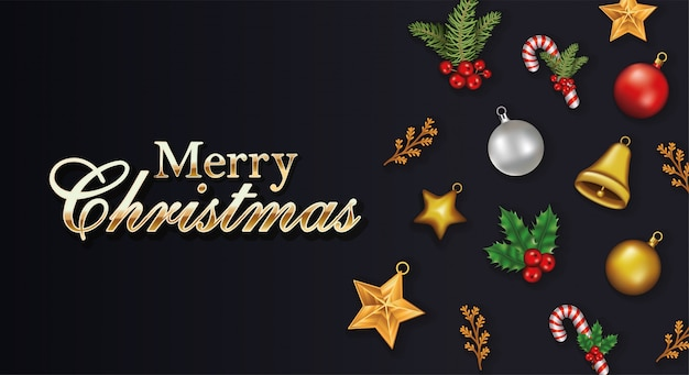 Happy merry christmas letterings with set icons