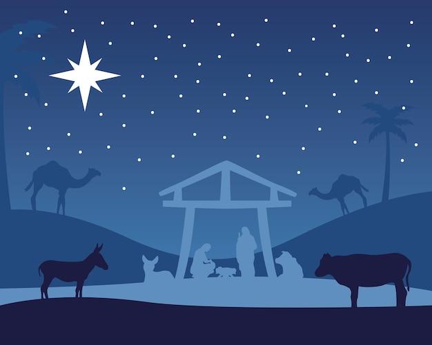 厩舎と動物の夜のイラストで聖家族と幸せなメリークリスマス飼い葉桶のシーン