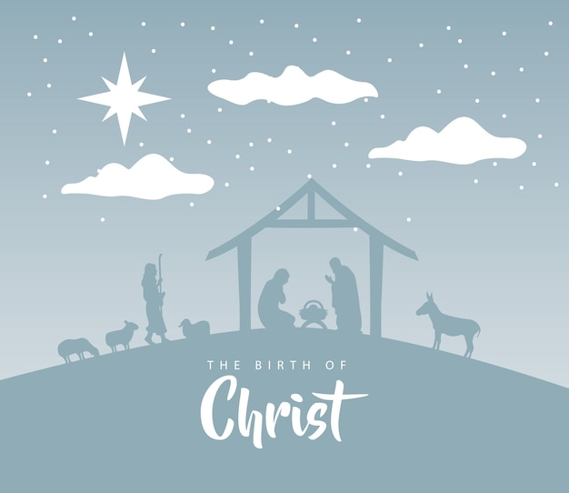 Happy merry christmas manger scene with holy family in stable and animals silhouettes illustration