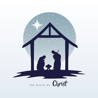 Happy merry christmas manger scene with holy family in stable silhouette illustration