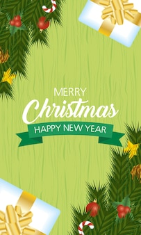 Happy merry christmas and new year card with gifts and leafs.