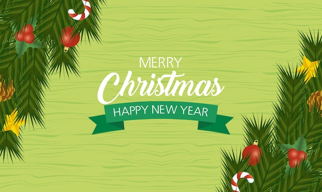 Happy merry christmas and new year card with leafs and ribbon.