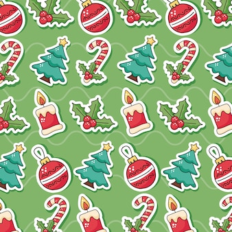 Happy merry christmas pattern icons illustration design