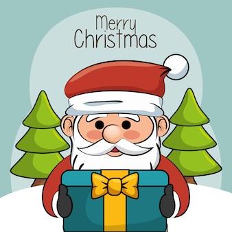 Happy merry christmas santa claus character vector illustration design