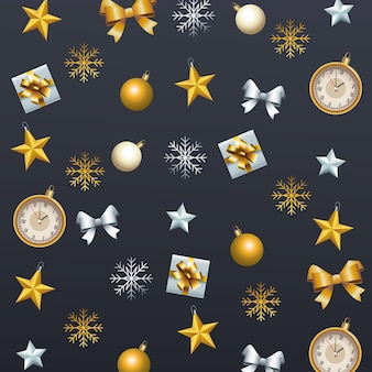 Happy merry christmas set decorative icons pattern illustration