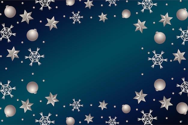 ハッピーメリークリスマスシルバー星とボールフレームイラスト