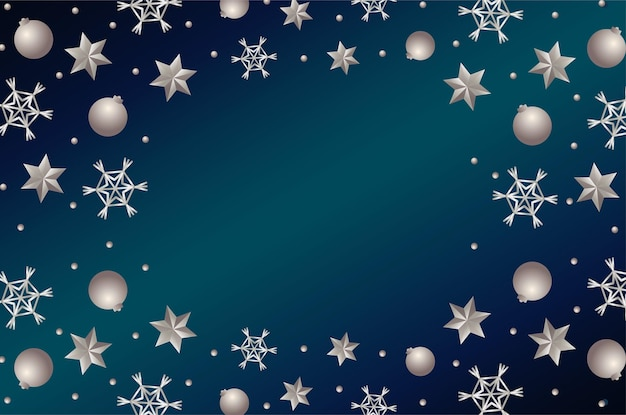 Happy merry christmas silver stars and balls frame illustration