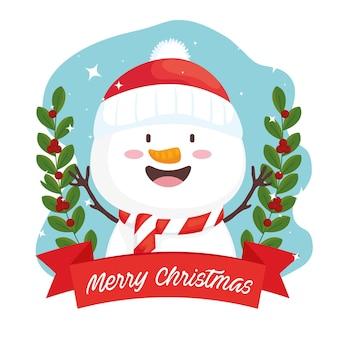 リボンフレームイラストデザインの幸せなメリークリスマス雪だるまキャラクター