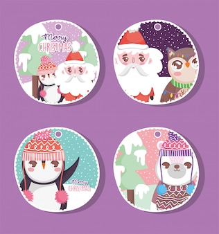 Happy merry christmas tags set