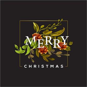 ハッピーメリークリスマスのタイポグラフィーと花 Premiumベクター