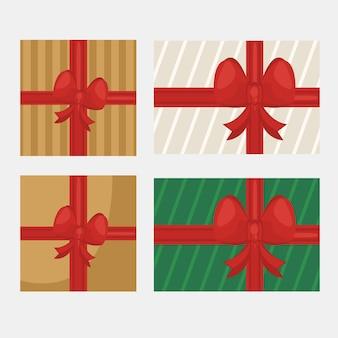설정된 선물 아이콘 일러스트와 함께 해피 메리 크리스마스