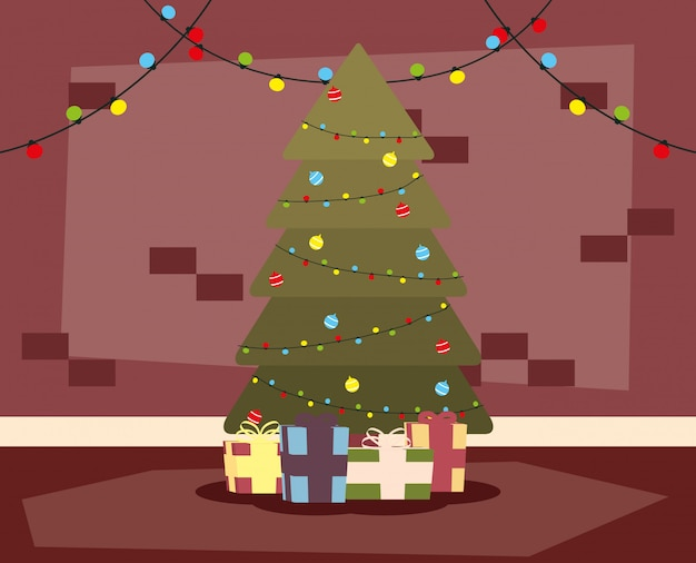 Happy mery christmas house place with tree and gifts scene