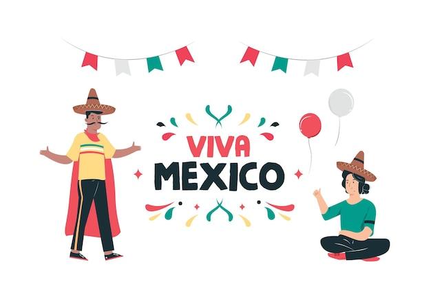 Счастливый день независимости мексики иллюстрация фон с текстом цитаты