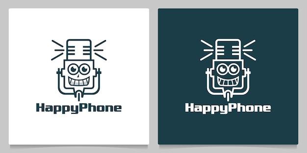 Happy microphone robot character logo design