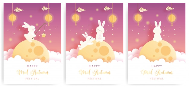 Happy mid autumn card set with cute bunny and full moon.