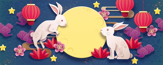 Happy mid autumn festival banner design with paper art rabbits and red lanterns